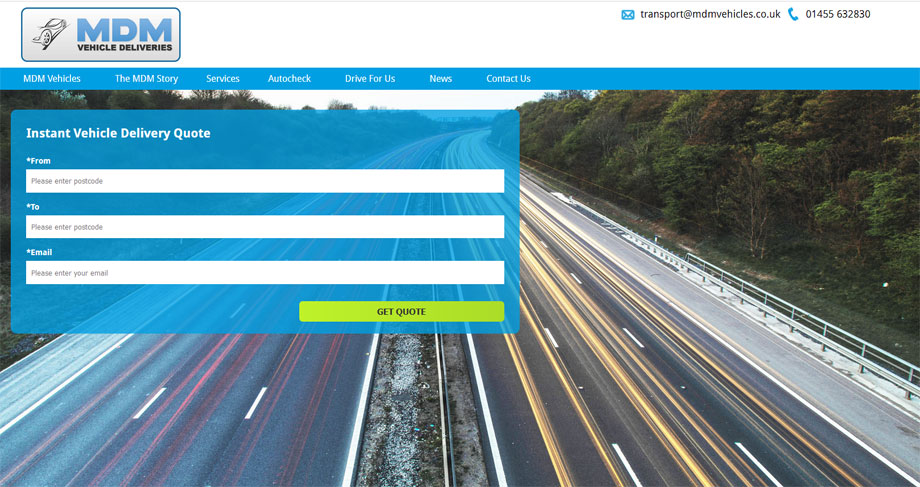 MDM Vehicles homepage with quote system in view